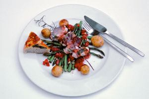 Monkfish Sultimbocca, Rosemary Kebabs