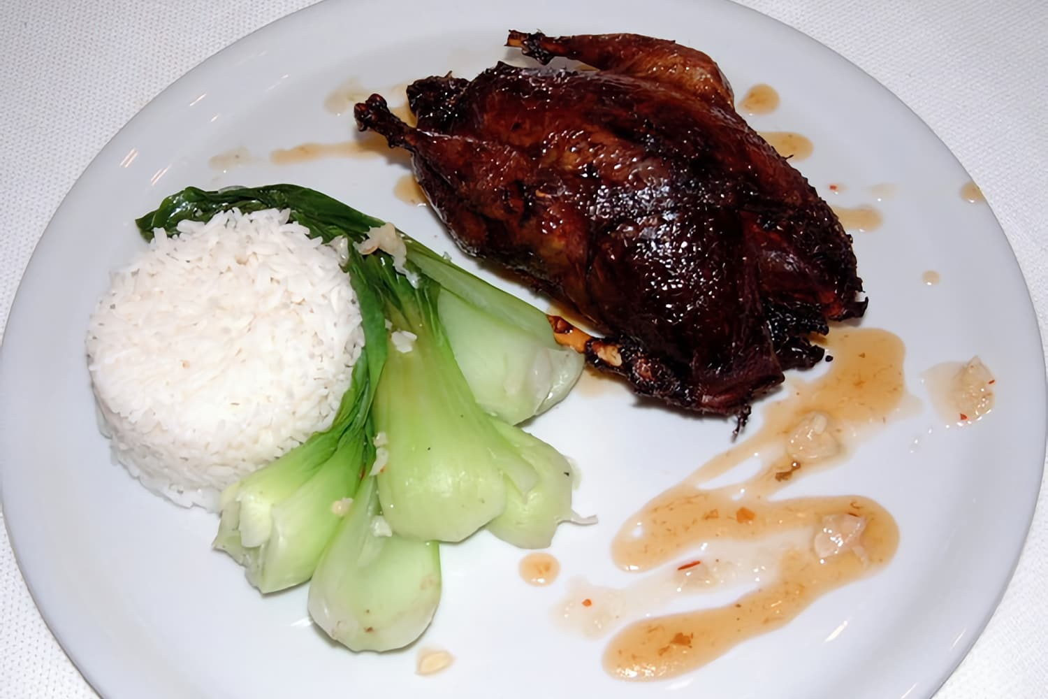 East Asian Infused Roast Partridge on Bok Choy