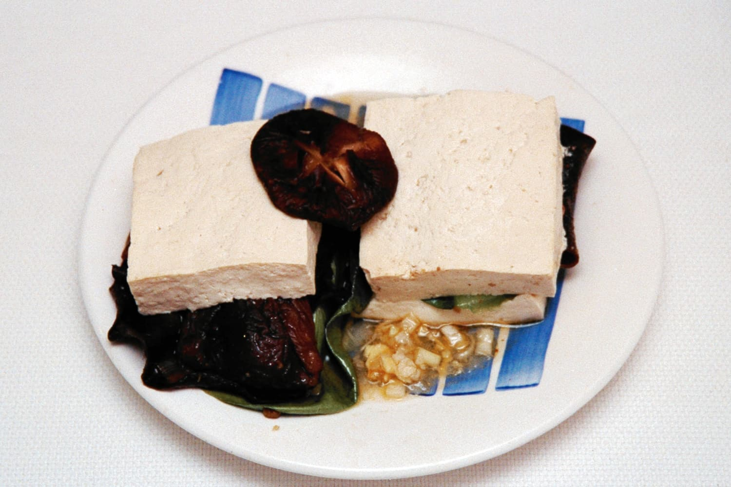 Steamed Tofu Sandwich with Bok Choy and Shitake Mushroom
