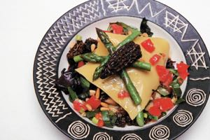 Morel and Asparagus Open Lasagne