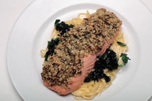 Salmon Fillets with a Skirlie Crust on Kale and Fettuccine
