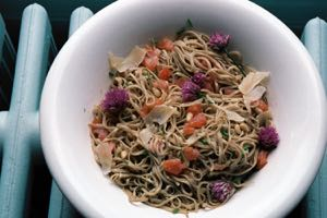 Linguine with Smoked Salmon and Chives served