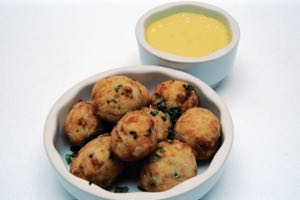 Salt Cod Balls with Saffron Aioli