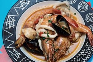 Seafood Stew served and ready to eat