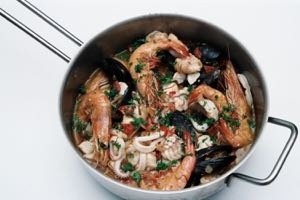 Anything Seafood Stew in the pan