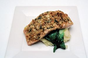 Macadamia and Coconut Crusted Salmon Fillets on Pak Choi and Mash