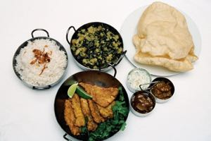 Tali Machchi with Saag and fragrant rice