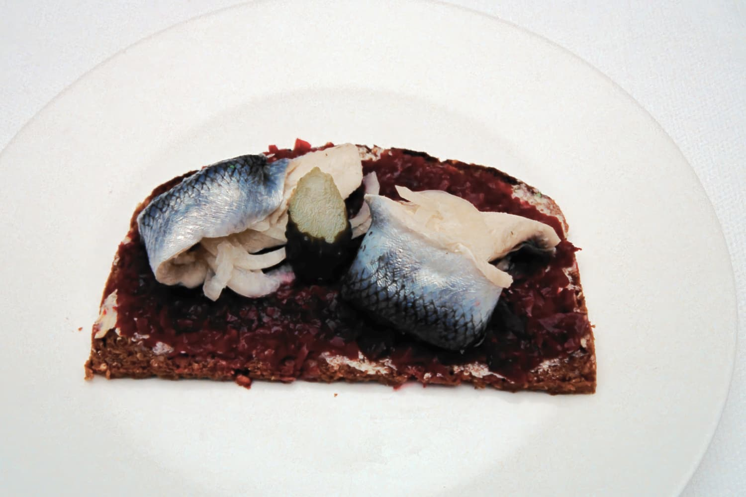 Herrings on Beetroot Puree