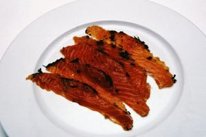 Gravlax, sliced and ready to eat