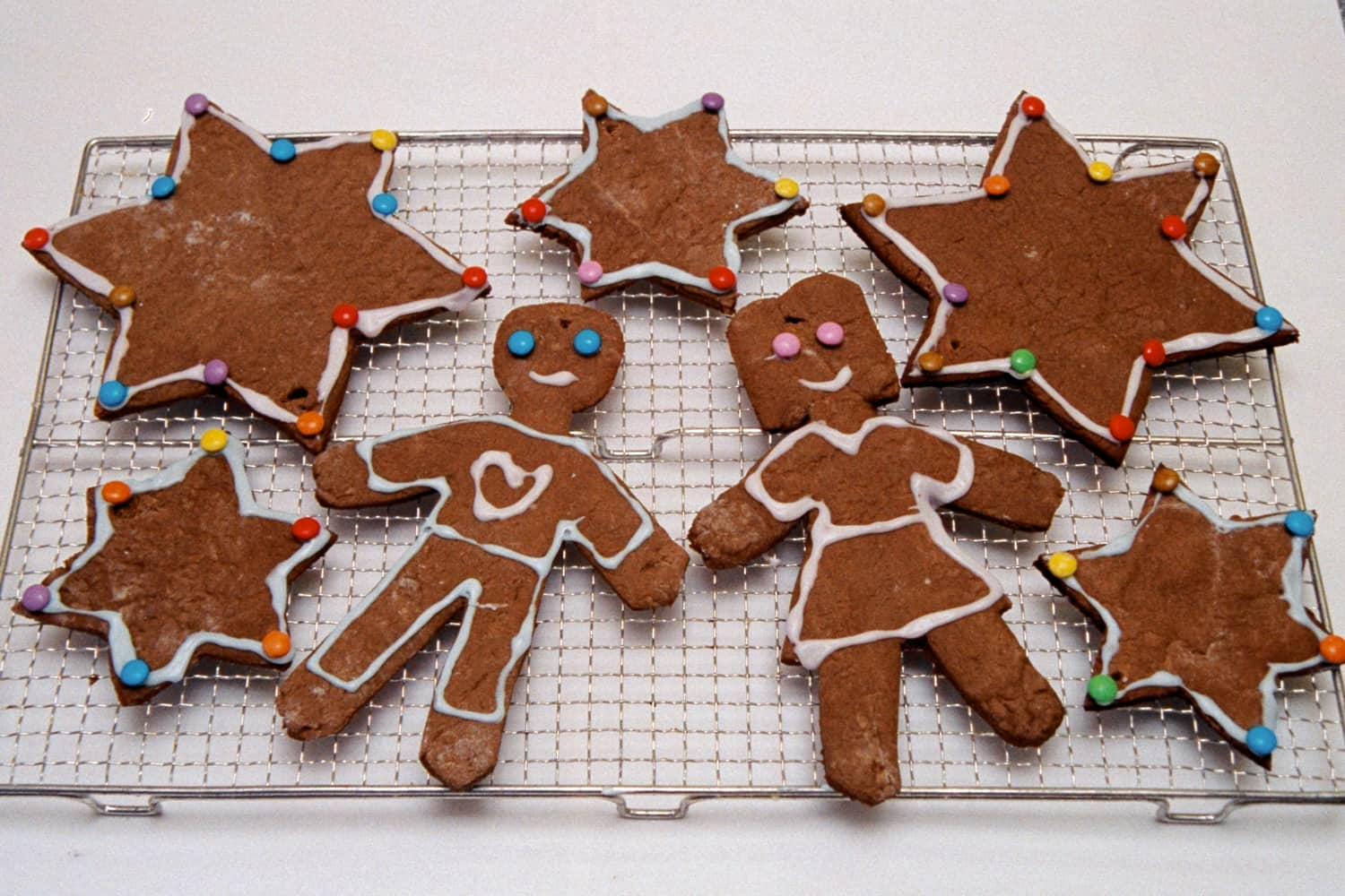 Gingerbread cut into Christmas shapes.