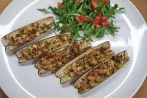 Razor Clams with a Herb and Garlic Crust