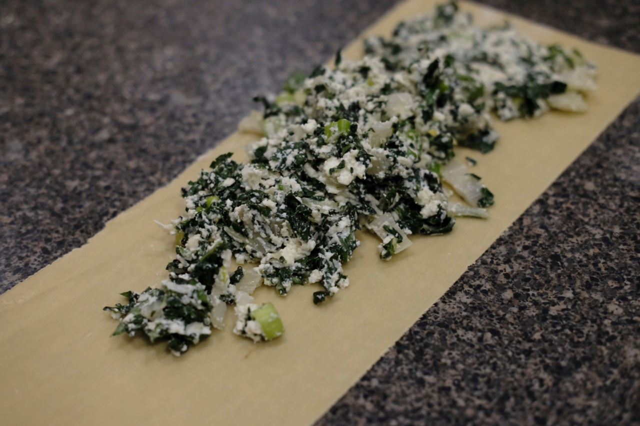 Swiss Chard and ricotta mix on pasta sheet,