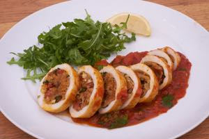 Chorizo Stuffed Squid Serving Suggestion