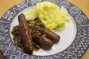 Venison Sausages with Wild Mushrooms and Mustard Mash
