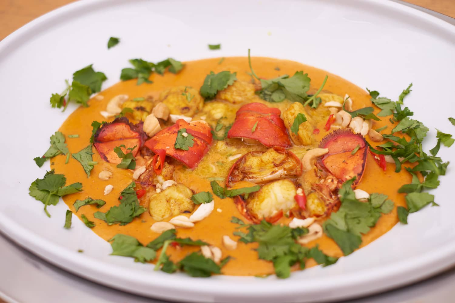 Lobster and Monkfish Curry in the serving bowl.