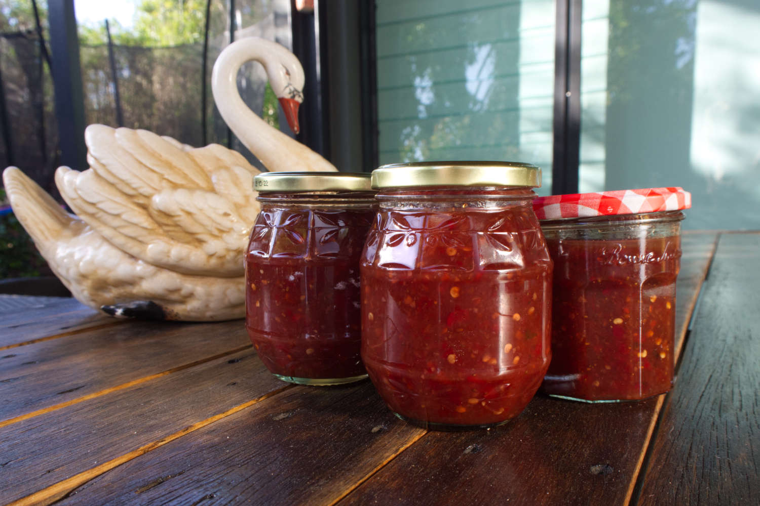 Strawberry Chilli Jam in jars